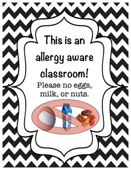 Allergy aware classroom sign