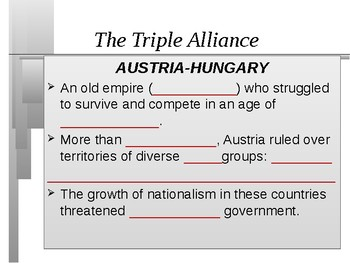 Alliances and Tension Build Unit: Events leading to World War 1 Student outline