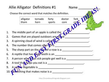 """Allie Alligator Matching Fun with """"or"""" Words (Common Core aligned)"""