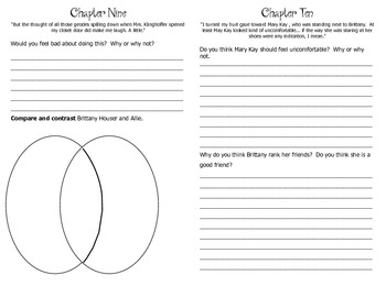 Allie Finkle's Rules for Girls Novel Study Booklet
