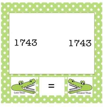 Allie the Alligator: Comparing 3 & 4-Digit Numbers {CCSS 2.1.3.B.1}