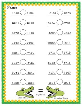 Allie the Alligator: Comparing 3 & 4-Digit Numbers HMWK Sheets {CCSS 2.1.3.B.1}