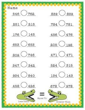 Allie the Alligator: Comparing 3 & 4-Digit Numbers HMWK Sh