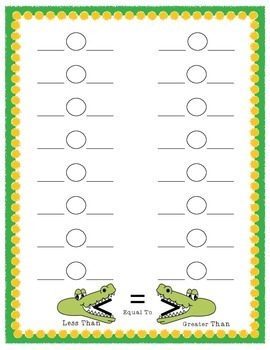 Allie the Alligator: Comparing Numbers Accountability Sheet {CCSS 2.1.3.B.1}