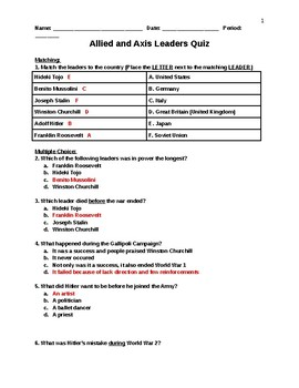 World War II - Allied and Axis Leaders Quiz Answer Key