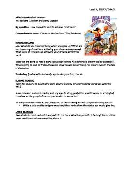 Allie's Basketball Dream Guided Reading Lesson Plan - Level K