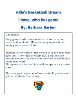 Allie's Basketball Dream I have who has Game