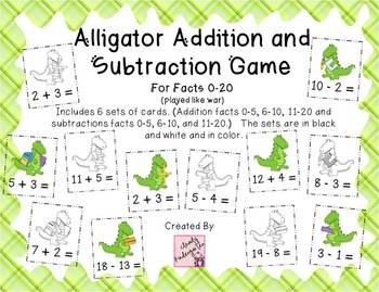 Alligator Addition and Subtraction Game for facts 0-20