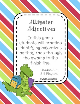 Alligator Adjectives Grammar Center Game Grades 3-5