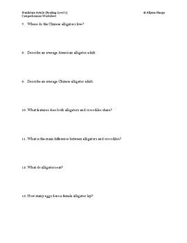 Alligator Article (Level 1) Comprehension Worksheet