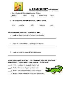 Alligator Baby Comprehension Activity