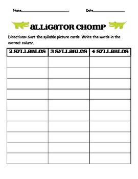 Alligator Chomp Syllable Sort