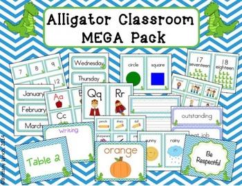 Alligator Theme Classroom Decor (editable)
