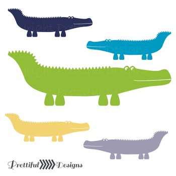 Alligator ClipArt in Blues, Green, Yellow and Gray