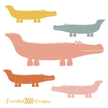 Alligator ClipArt in Pinks, Yellow, Orange, and Slate
