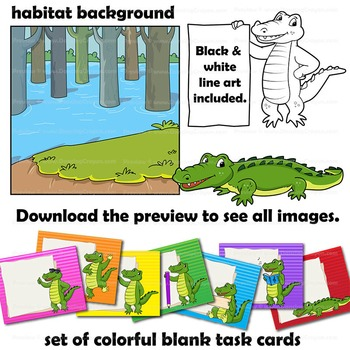 Alligator Clip Art ( Crocodile ) with signs:  Letter A in Alphabet Animal Series