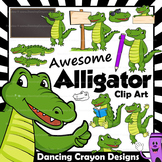 Alligator Clip Art ( Crocodile ) with signs:  Letter A in