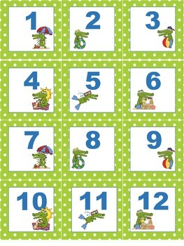 Alligator Crocodile  Calendar number cards