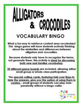 Alligator & Crocodile Vocabulary Bingo