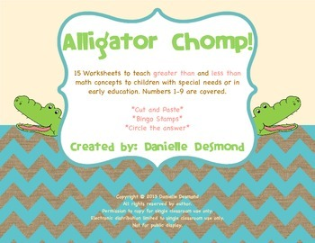 Alligator Greater Than Less Than Worksheets