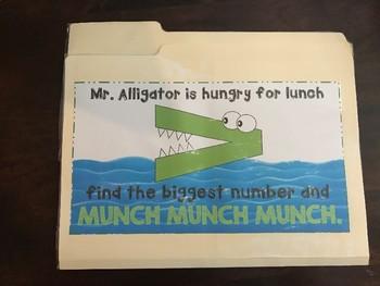 Alligator Greater than & Less than File Folder Game