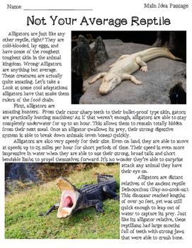 Alligator Main Idea Passage