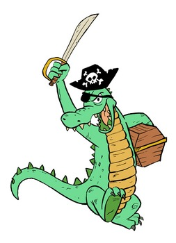 Alligator Pirate Clip Art Image