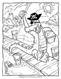 Alligator Pirate Coloring Page