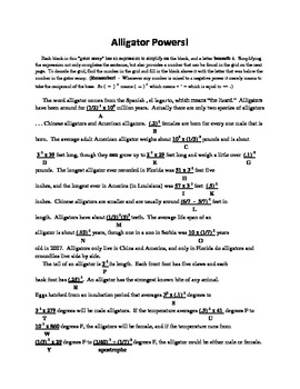 Alligator Powers!, A Mathematical Essay,using Negative Exponents