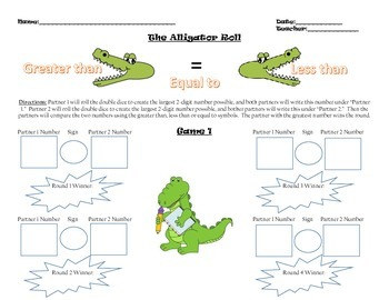 Alligator Roll (comparing numbers)