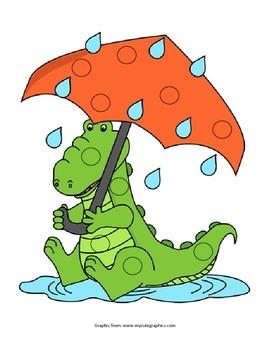 Alligator Sitting in the Rain Pom Pom Activity
