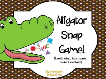 Alligator Snap Game! (identifying letters, letter sounds, numbers & shapes)