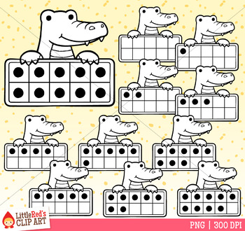 Alligator Ten Frames Clip Art