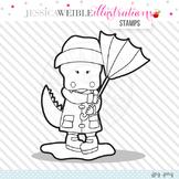 Alligator in Rain Cute Digital B&W Stamp, Cute Alligator Line Art, Blackline