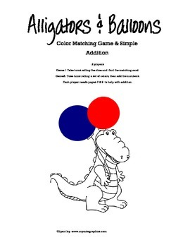 Alligators And Balloons Color Matching Plus Basic Addition