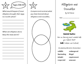 Alligators and Crocodiles Trifold - Wonders 3rd Grade Unit 6 Week 4