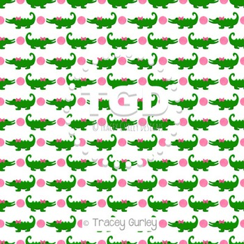 Alligators with bow and pink dots on White digital paper Printable Tracey Gurley