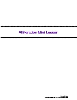 Alliteraion Mini Lesson - (Figurative Langage)