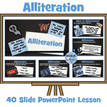 Alliteration - 34 Slide PowerPoint Lesson and Set of 12 Worksheets