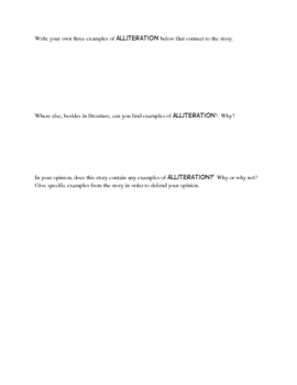 Alliteration: A worksheet to go with ANY book!