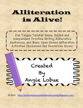 Alliteration Activities and Game (Tongue Twisters)
