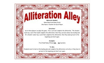 Alliteration Game - Alliteration Alley for Workstations and Small Groups