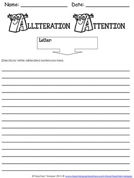 Alliteration Attention: Graphic Organizer, Samples, and More