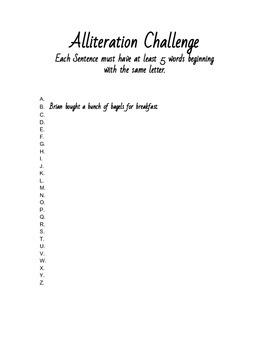 Alliteration Challenge A-Z