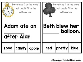 Alliteration Clip Cards - Alice and Wonderland Theme