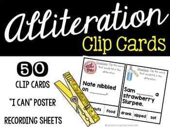Alliteration Clip Cards - Alice and Wonderland Theme