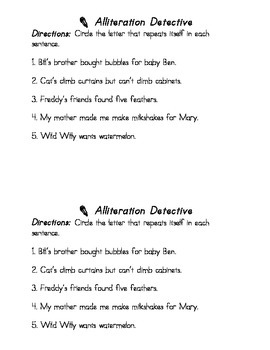 Literary Device: Alliteration Detective (Circle the Letter) and Write Sentences