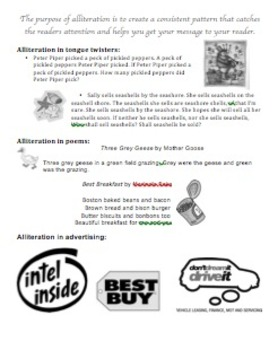 Explaining Alliteration- Tool to explain what alliteration is; with examples!