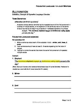 Alliteration - Figurative Language Exercise