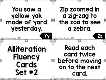 Alliteration Fluency Cards